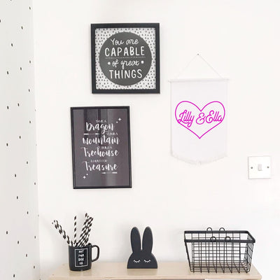 Personalised Heart Wall Flag