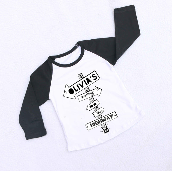 Personalised Highway Raglan Baseball Top