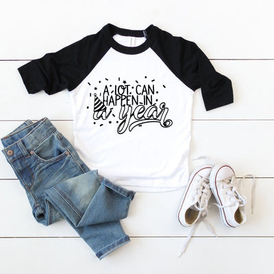 A Lot Can Happen (all ages) Birthday Kids Raglan Top