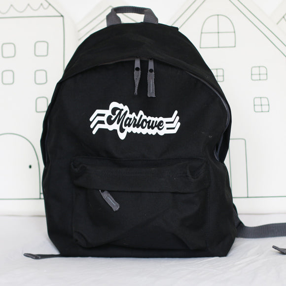 Retro Name Personalised Back Pack