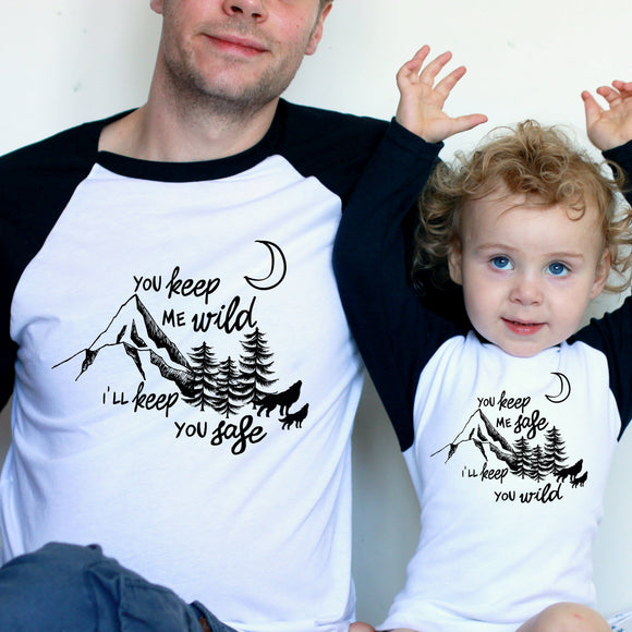 Safe and Wild Daddy and Me Set Raglan Baseball/ T-Shirt or Vest