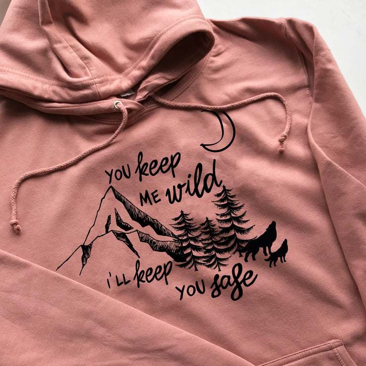 safe and wild ladies hoodie