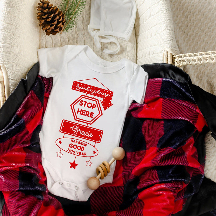 Personalised Santa Please Baby Sleep Suit/ Vest