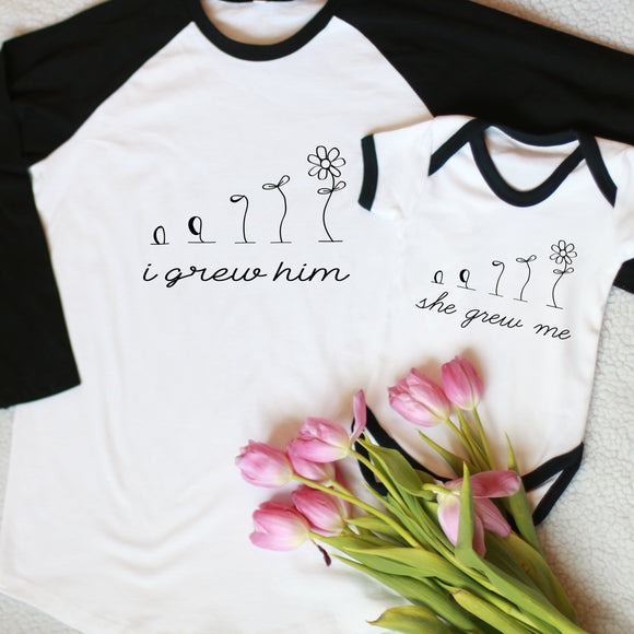 She Grew Me Twinning Mothers Day T-Shirt and Kid's Tee / Vest Set