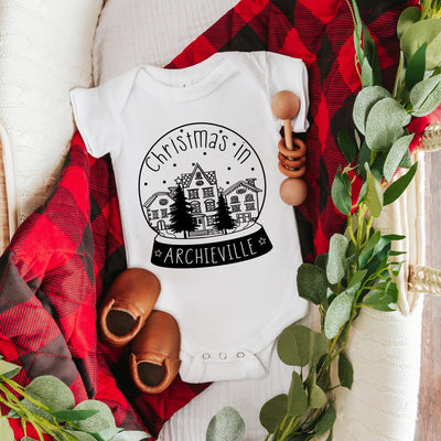 Personalised Snowglobe Baby Sleep Suit/ Vest