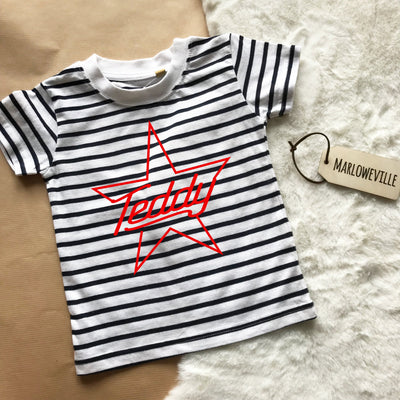Star Name Short Sleeved Striped Kids T-Shirt