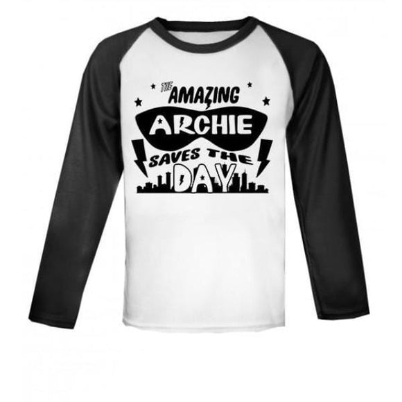 Personalised Super Hero Raglan Baseball Top