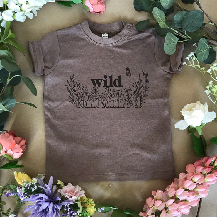 wild and untamed kids slogan t-shirt