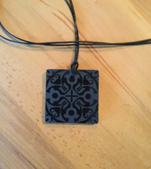 Small Black Etched Perspex Square Necklace