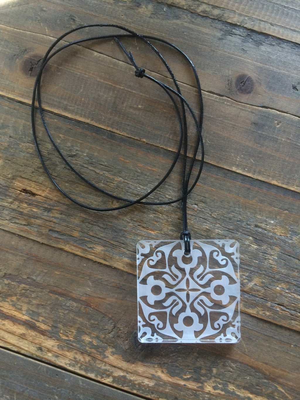 Small Clear Etched Perspex Square Necklace