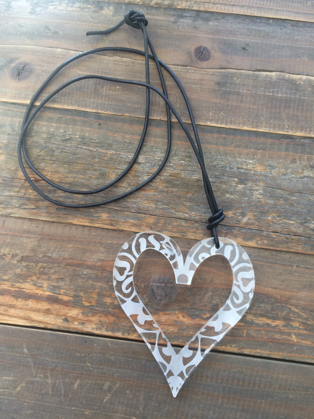 Etched Clear Perspex Heart Necklace