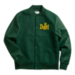 DEATHWORLD LETTERMAN JACKET.  POLY/WOOL BLEND SHELL 100% POLYESTER QUILTED LINER CHENILLE PATCH EMBROIDERED LOGO SNAP BUTTONS INSIDE CELL PHONE POCKET