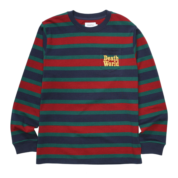 DEATHWORLD STRIPE L/S POCKET TEE. 100% COTTON LONGSLEEVE POCKET TEE.  EMROIDERED LOGO ON POCKET.