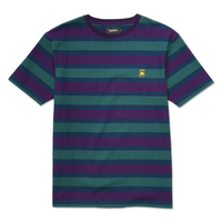 DEATHWORLD STRIPE S/S KNIT GREEN/BURGUNDY.  100% COTTON.  EMBROIDERED LOGO