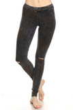 Soft Acid Wash Split Knee Leggings