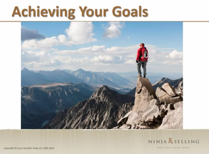 Goals of Ninja Selling: introduction to wildly important goals (WIG) and 4DX