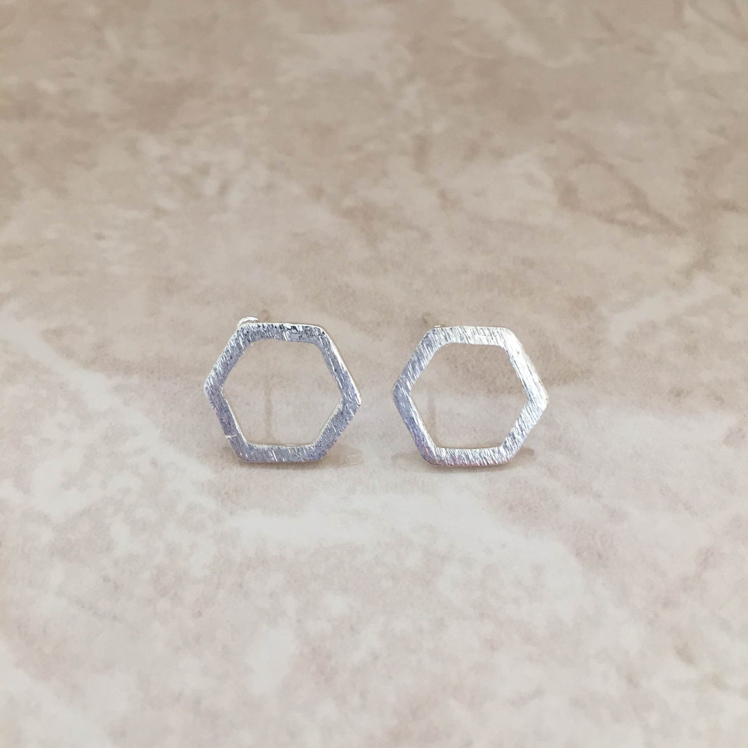 Hexagon Stud Earrings - Minimalist