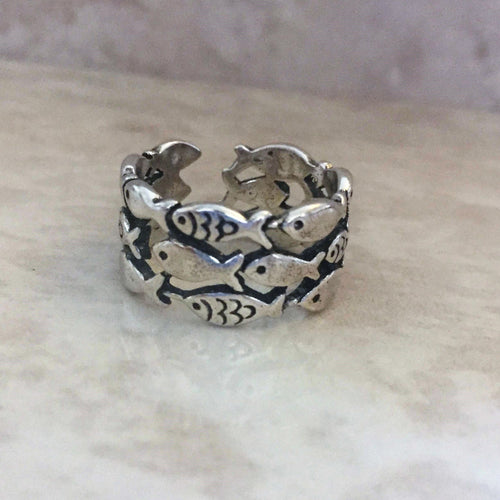 Fishes Just Keep Swimming Adjustable Ring