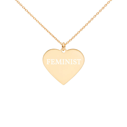 Feminist Engraved Silver Heart Necklace