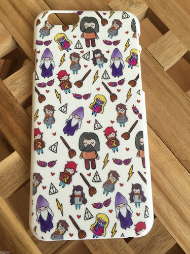 Harry Potter Cute Characters Phone case for iPhone 6. Lovely cartoon illustrated design. The perfect gift for any Harry Potter fan.