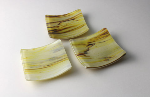 "Almond streaky 3.5"" square fused glass trinket dish"
