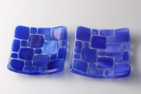 "Blue and white 3.5"" square fused glass trinket dishes"