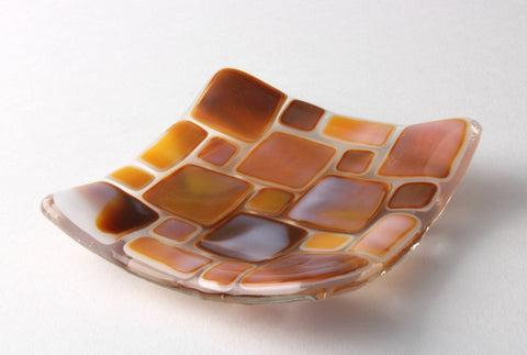 "Brown and white 3.5"" square fused glass trinket dish"