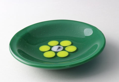 "5"" diameter green fused glass candy dish with yellow flower"