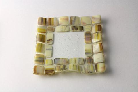 "Almond 5.5"" square fused glass dish"
