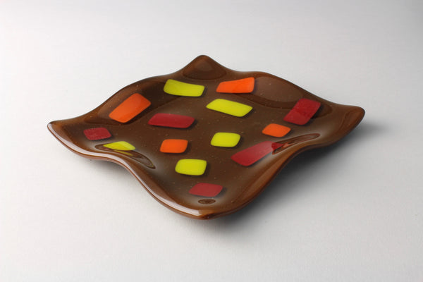 "Brown retro 5.5"" square fused glass dish"