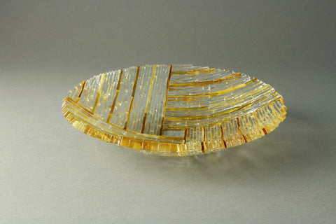 "Amber 9"" diameter fused glass dish"