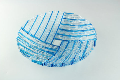 "Turquoise blue 9"" diameter fused glass dish"