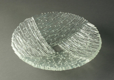 "Clear 9"" diameter fused glass dish"