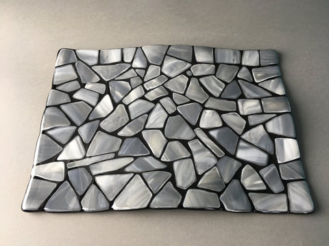 "Gray and black fused glass 8"" x 11"" serving tray"