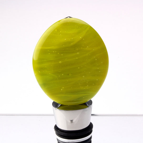 Yellow and clear glass / stainless steel bottle stopper