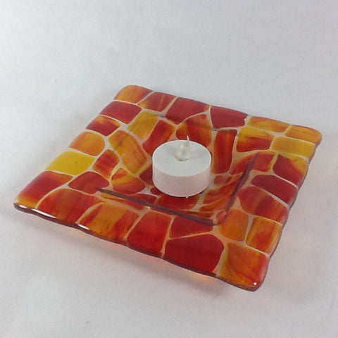 "Red & Yellow 6"" x 6"" fused glass candle holder"