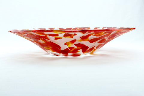 "Red and clear 15.5"" diameter fused glass serving bowl"