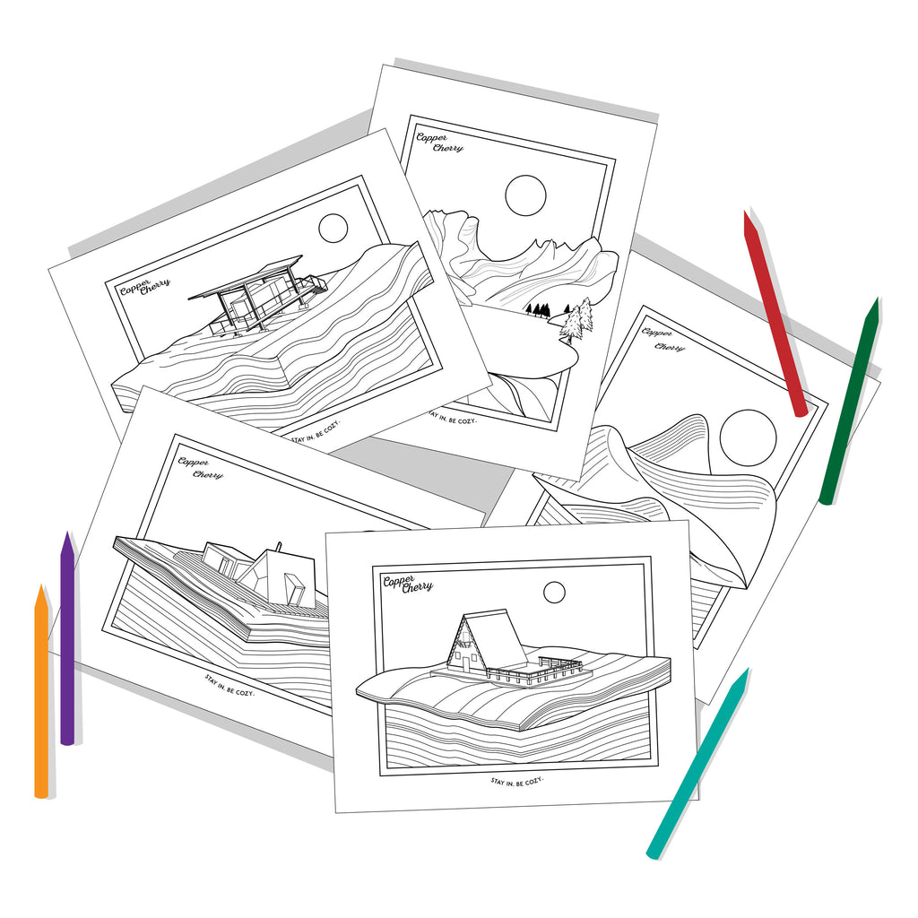 Cabins & Landscapes Colouring Pages