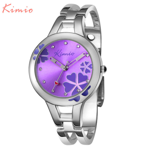 KIMIO Carving Clover Flower Womens Watches
