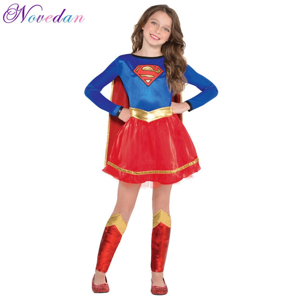 Cool Girls Supergirl Cosplay Costumes Kids Fancy Superman Superheroes Halloween Birthday Party Dresses Child Anime Movie Cosplay - LADSPAD.COM