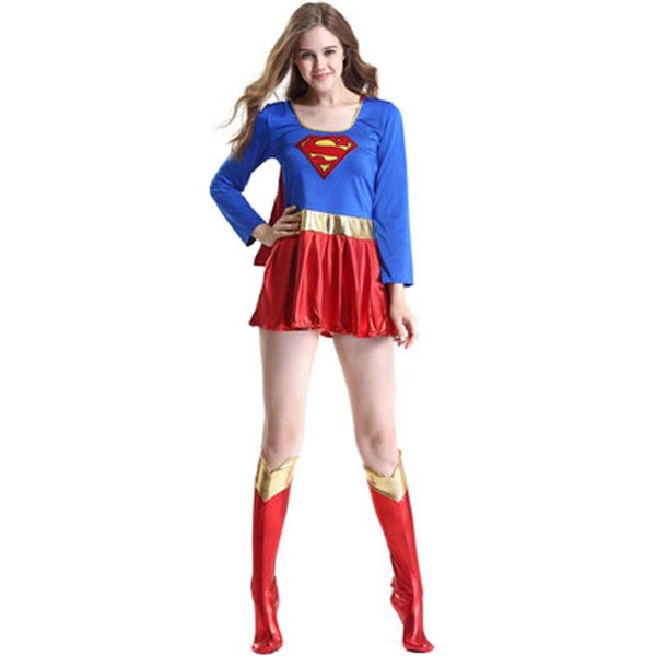 Adult Supergirl Cosplay Costume Super Woman Superhero Sexy Fancy Boots Dress Halloween Superman Party Cos Costumes Dropshipping - LADSPAD.COM