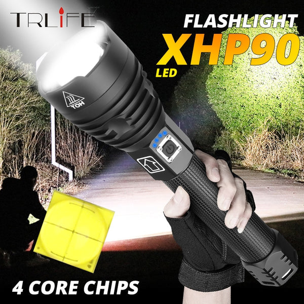 XLamp XHP90 The Most Powerful Usb Zoomable Led Flashlight Xhp70.2 Tactical Flash Light Torch by 26650 or 18650 battery for hunt - LADSPAD.COM