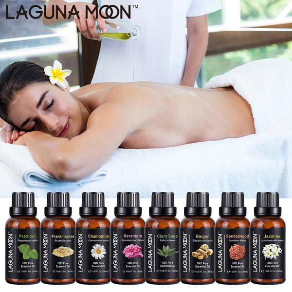 Lagunamoon Pure Essential Oils 30ML 1OZ Rose Tea Tree Massage Humidifier Peppermint Frankincense Lavender Jasmine Oil Essential - LADSPAD.COM