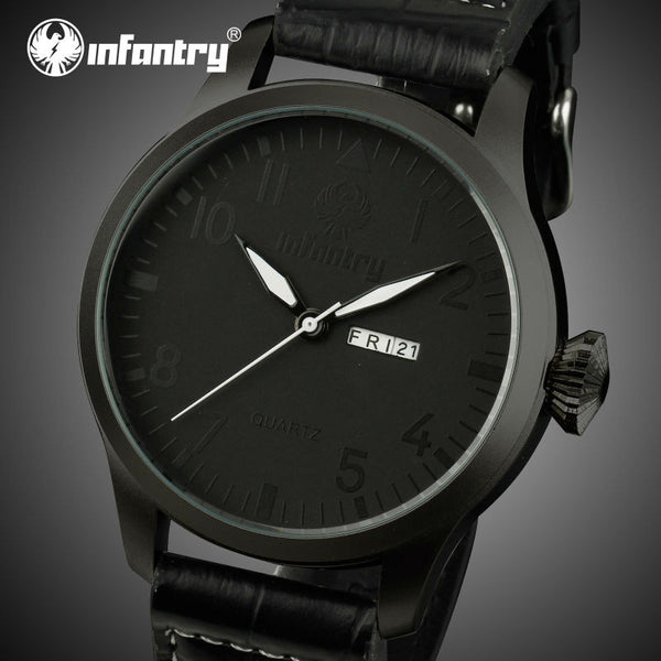 INFANTRY Men's Quartz Black Leather Watch - LADSPAD.COM
