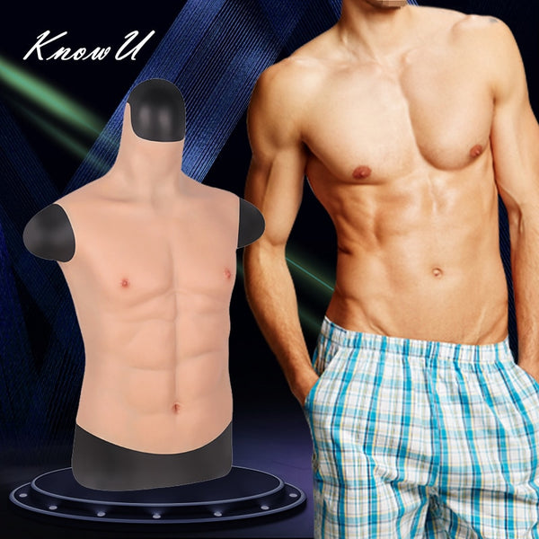 KnowU Fake Chest Muscle Belly Macho Soft Silicone Man Artificial Simulation Muscles High Collar Version Cosplay crossdress