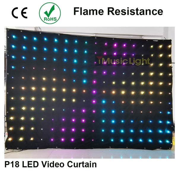 80 Animated Patterns LED Vision Curtain P18 2Mx3M 187pcs LEDs DMX512 for Mobile DJ Band night club stage backdrop