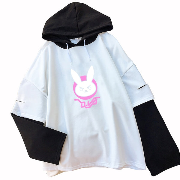 Kawaii OW DVA Rabbit Print Hoodies Women D.VA Logo Streetwear Hooded Autumn Winter Hip Hop Tops Casual Fake Two Pieces Pullove - LADSPAD.COM