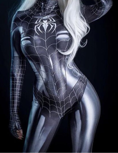 Black Cat Symbiote Spider Girl 3D Print Cheap Spandex Spider Woman Cosplay Costume Zentai Bodysuit Hot Sale Freeshipping - LADSPAD.COM