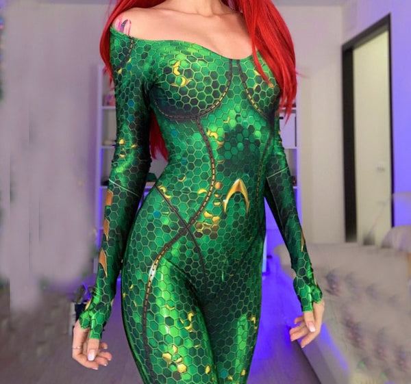 High Quality Quinn Mera Cosplay Costume 3D Print Queen princess Mera JY Costumes Zentai Catsuit Aquaman Superhero Suit - LADSPAD.COM