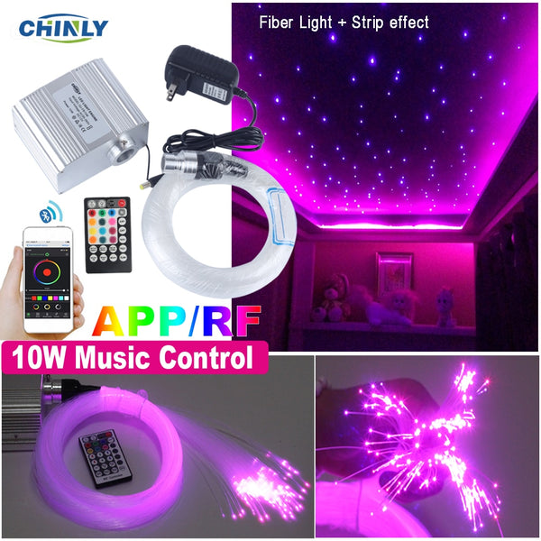 Smartphone APP Control Fiber Optic Light 10W Twinkle Effect Bluetooth & Music Control RGBW LED Lights Kit Star Ceiling Lighting - LADSPAD.COM